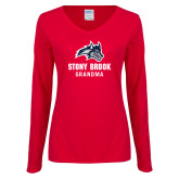 Ladies Red Long Sleeve V Neck Tee-Grandma