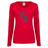 Ladies Red Long Sleeve V Neck Tee-Interlocking SB Graphite Soft Glitter