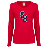 Ladies Red Long Sleeve V Neck Tee-Interlocking SB, Custom Tee w/ Name and #