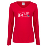 Ladies Red Long Sleeve V Neck Tee-Stony Brook Seawolves