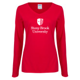 Ladies Red Long Sleeve V Neck Tee-University Mark Vertical
