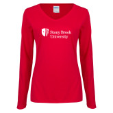Ladies Red Long Sleeve V Neck Tee-University Mark Stacked