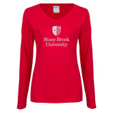Ladies Red Long Sleeve V Neck Tee-University Mark Vertical White Soft Glitter