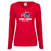 Ladies Red Long Sleeve V Neck Tee-Wolfie Head Stony Book Basketball
