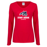 Ladies Red Long Sleeve V Neck Tee-Wolfie Head Stony Book Lacrosse