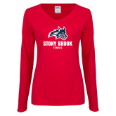 Ladies Red Long Sleeve V Neck Tee-Wolfie Head Stony Book Tennis