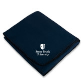 Navy Arctic Fleece Blanket-University Mark Vertical