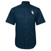 Navy Twill Button Down Short Sleeve-Interlocking SB