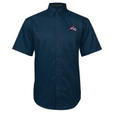 Navy Twill Button Down Short Sleeve-Wolfie Head