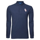 Navy Long Sleeve Polo-Interlocking SB