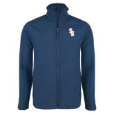 Navy Softshell Jacket-Interlocking SB