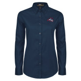 Ladies Navy Twill Button Down Long Sleeve-Wolfie Head