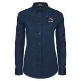 Ladies Navy Twill Button Down Long Sleeve-Wolfie Head and Stony Brook