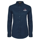 Ladies Navy Twill Button Down Long Sleeve-Wolfie Head and Stony Brook Seawolves