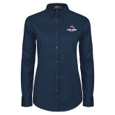 Ladies Navy Twill Button Down Long Sleeve-Wolfie Head and Stony Brook Athletics