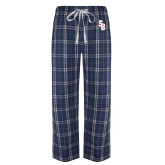 Navy/White Flannel Pajama Pant-Interlocking SB