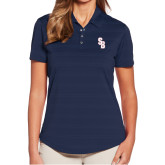 Ladies Callaway Horizontal Textured Navy Polo-Interlocking SB