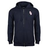Navy Fleece Full Zip Hoodie-Interlocking SB