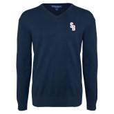 Classic Mens V Neck Navy Sweater-Interlocking SB