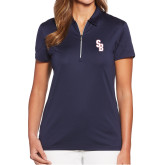 Ladies Callaway Tulip Sleeve Navy Zip Polo-Interlocking SB