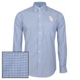 Mens Navy Plaid Pattern Long Sleeve Shirt-Interlocking SB