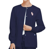 Ladies Navy Snap Front Warm Up Scrub Jacket-Interlocking SB