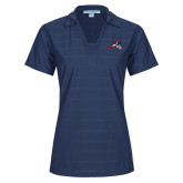 Ladies Indigo Blue Horizontal Textured Polo-Wolfie Head