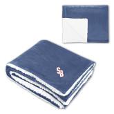Super Soft Luxurious Navy Sherpa Throw Blanket-Interlocking SB