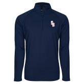 Sport Wick Stretch Navy 1/2 Zip Pullover-Interlocking SB