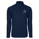 Sport Wick Stretch Navy 1/2 Zip Pullover-Wolfie Head and Stony Brook