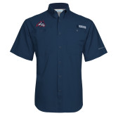 Columbia Tamiami Performance Navy Short Sleeve Shirt-Wolfie Head