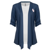Ladies Navy Drape Front Cardigan-Interlocking SB