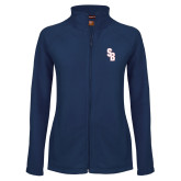 Ladies Fleece Full Zip Navy Jacket-Interlocking SB