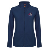 Ladies Fleece Full Zip Navy Jacket-Wolfie Head and Stony Brook