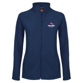 Ladies Fleece Full Zip Navy Jacket-Wolfie Head and Stony Brook Seawolves
