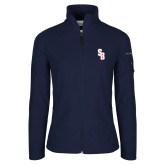 Columbia Ladies Full Zip Navy Fleece Jacket-Interlocking SB