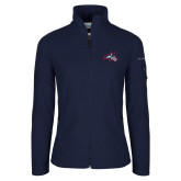 Columbia Ladies Full Zip Navy Fleece Jacket-Wolfie Head