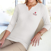 Ladies V Notch White 3/4 Sleeve Shirt-University Mark Vertical