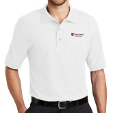 White Easycare Pique Polo-University Mark Stacked