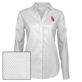 Ladies Red House Diamond Dobby White Long Sleeve Shirt-Interlocking SB