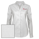 Ladies Red House Diamond Dobby White Long Sleeve Shirt-University Mark Stacked