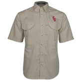 Khaki Short Sleeve Performance Fishing Shirt-Interlocking SB