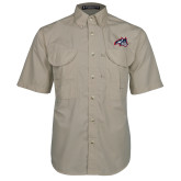 Khaki Short Sleeve Performance Fishing Shirt-Wolfie Head