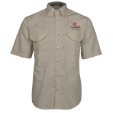 Khaki Short Sleeve Performance Fishing Shirt-University Mark Vertical