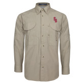Khaki Long Sleeve Performance Fishing Shirt-Interlocking SB