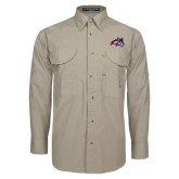 Khaki Long Sleeve Performance Fishing Shirt-Wolfie Head