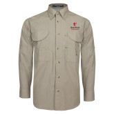 Khaki Long Sleeve Performance Fishing Shirt-University Mark Vertical