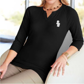 Ladies V Notch Black 3/4 Sleeve Shirt-Interlocking SB