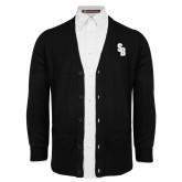 Black V Neck Cardigan w/Pockets-Interlocking SB
