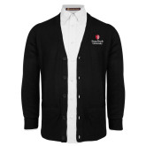 Black V Neck Cardigan w/Pockets-University Mark Vertical